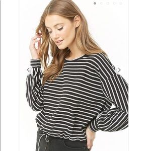Forever 21 contemporary striped balloon sleeve top
